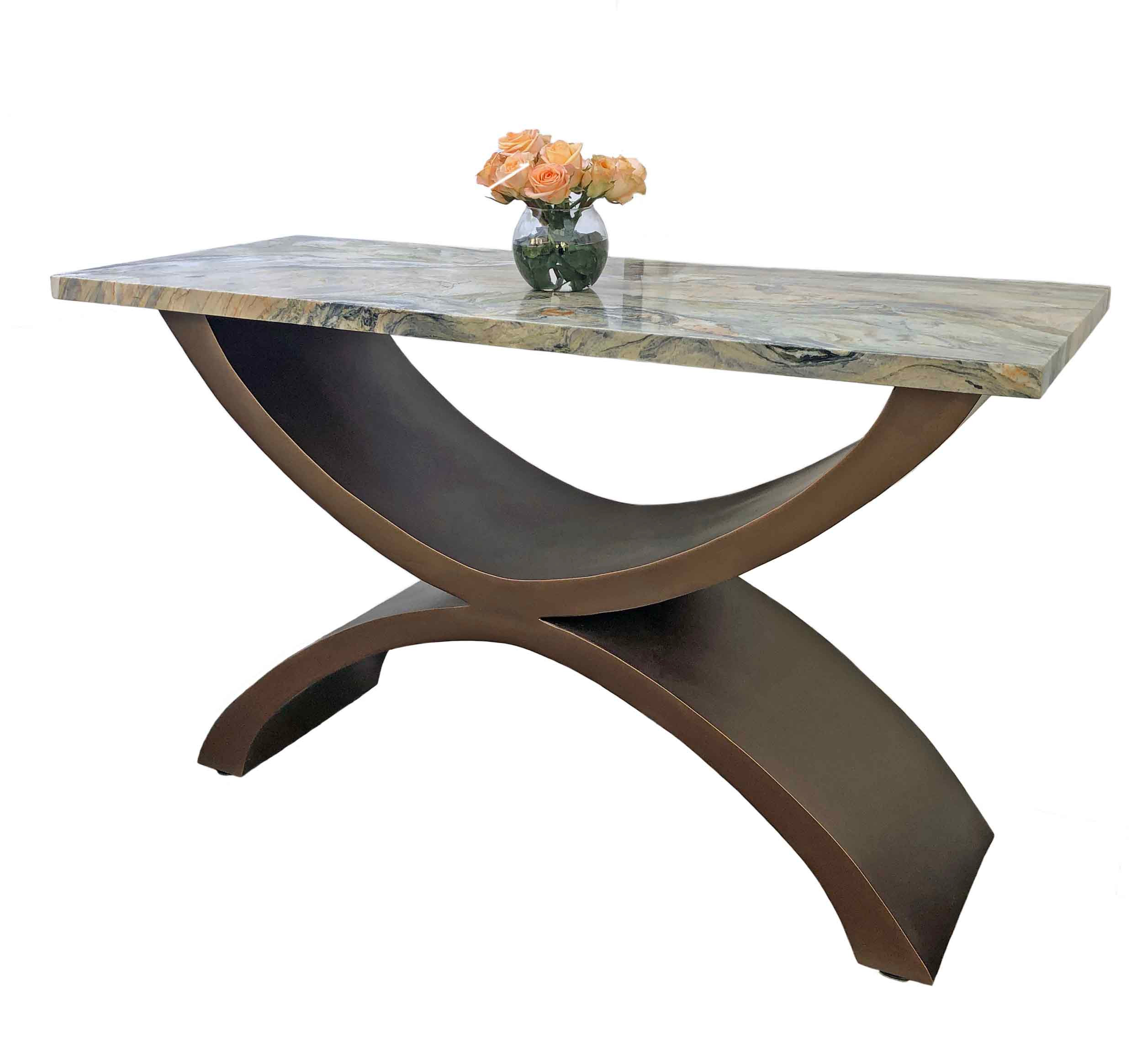 Narrow Console Table With Quartzite Table Top Invictus Steelworks