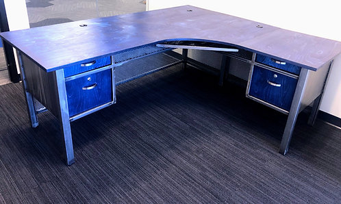 Custom Modern Industrial L Shaped Executive Desk with Drawers