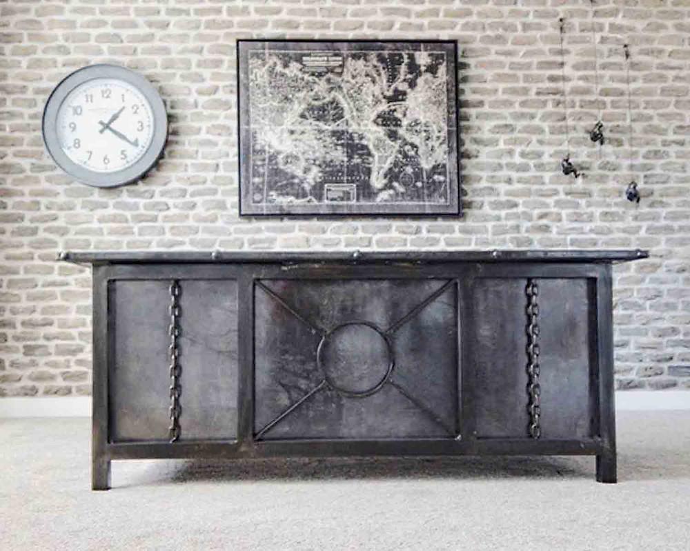 industrial metal desk, custom metal desk, desk with storage, desk with wire management, welded desk, luxury desk
