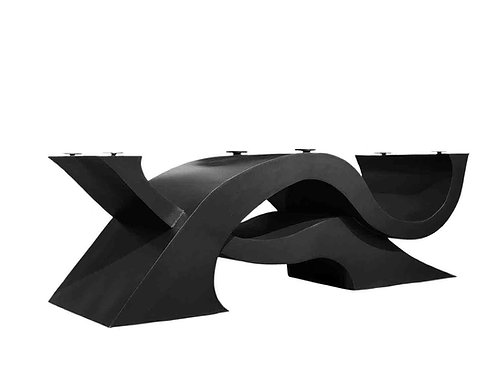 Contemporary dining table, modern dining table, glass and metal table, sculptural table base, boardroom table, meeting table