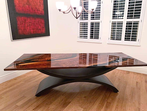 Luxury Dining Room Table | Resin and Black Walnut | Wave Table