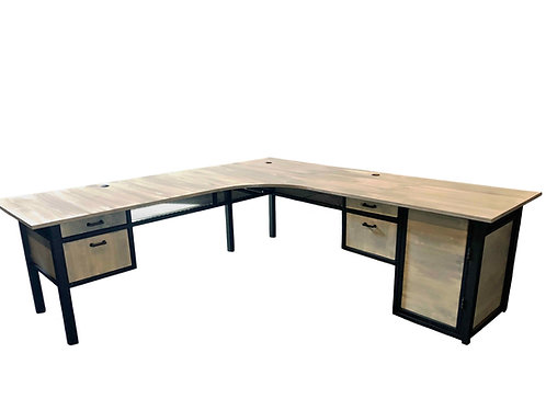 Large Industrial L Desk with Drawers & Keyboard Tray