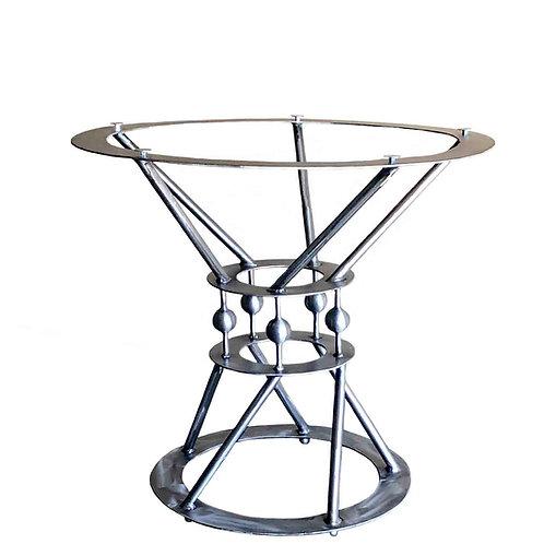 round pedestal kitchen table, metal table base, round table base,  small dining table, small pedestal table