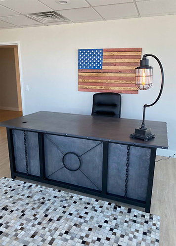 Industrial Executive Desk with drawers, Large industrial desk, custom metal desk, cool desk, office desk