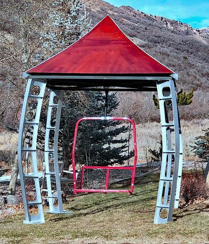 Ski inspired gazebo, Metal Gazebo, Ski Lift Art, Gazebo with swing, Handmade Gazebo, Ski Art, Large Metal Sculpture