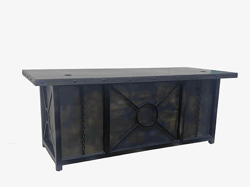 industrial style computer desk with drawers;