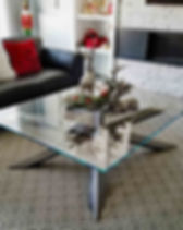 Polished Steel and Glass Coffee Table.jp