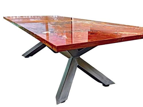 Granite dining table, custom trestle table, metal trestle table, custom metal table base, trestle conference table base,