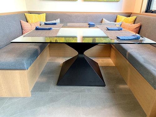 metal table pedestal, hourglass, dining room table, conference table, metal table base, pedestal table base, custom pedestal