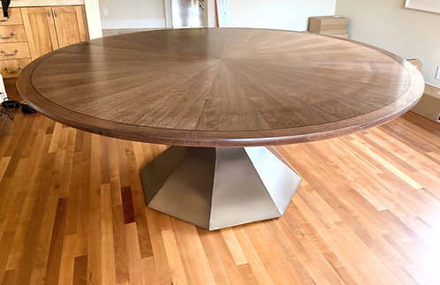 """Large Round Pedestal Dining Table, Round Conference Table, 78"""" round Dining Table, Statement Table, Large Pedestal Table"""