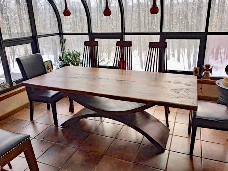 Double Arch Metal Pedestal Dining Table Console Coffee