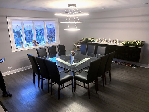 Glass and Metal Dining Table Square or R