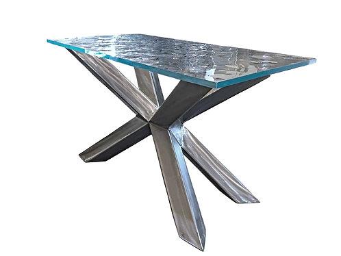 glass and metal side table, glass and metal console table, glass and metal foyer table