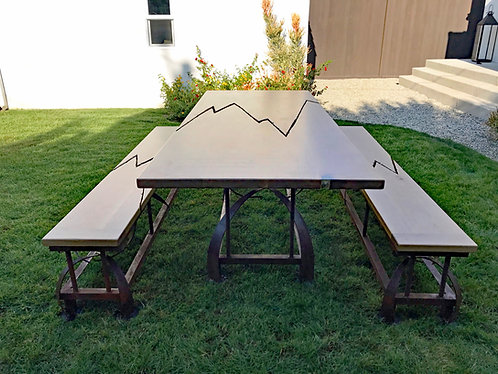 Statement Dining Table Set with Benches or Metal Bases Only | Swords
