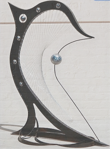 large metal sculpture, statement art, music art, Steel art