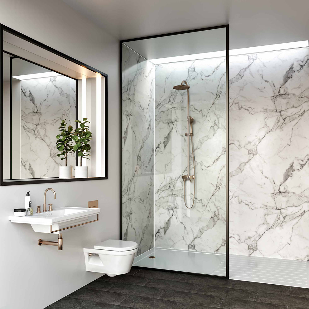 Spapanel Calacatta Marble, wet wall panels in the shower area, bathroom renovation Perth