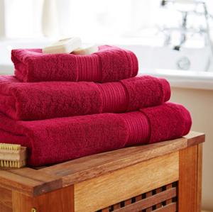 Red bathroom towels, bathroom renovation Perth,