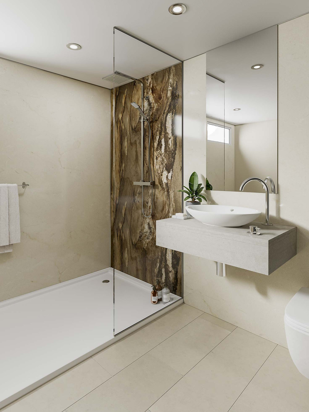 Wall mounted bathroom vanity, with shower base and wet wall panels inside the shower area.
