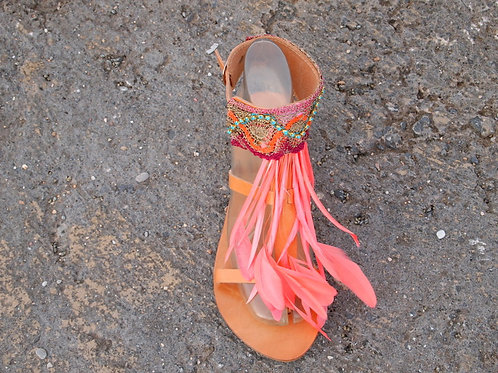"Jeweled leather sandals with feathers & Precioza crystals ""LOLA"""