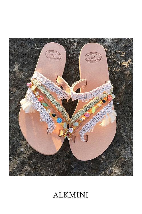 "Jeweled leather sandals  ""ALKMINI"""