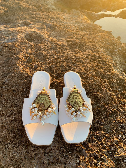 """Jeweled White Leather sandals """"Dolce Vita"""""""