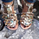 Thumbnail: Jeweled gold leather sandals with crystals, precious stones & charms CHARISMA
