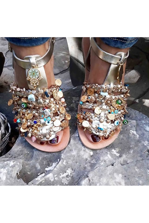 Jeweled gold leather sandals with crystals, precious stones & charms CHARISMA