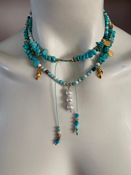 Long Turquoise Necklace  - ALCYONE