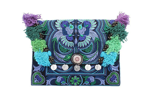 Brocade embroidered clutch bag - Peackock