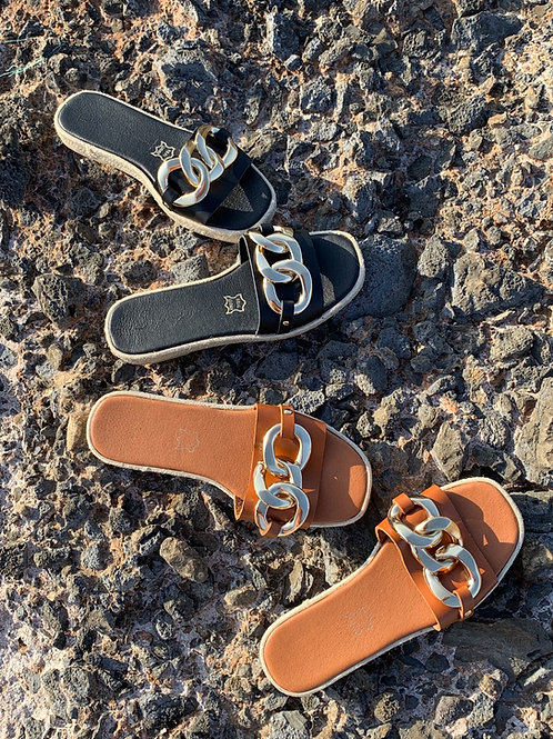 """Handmade leather espadrilles with gold chain- """"Roma"""""""