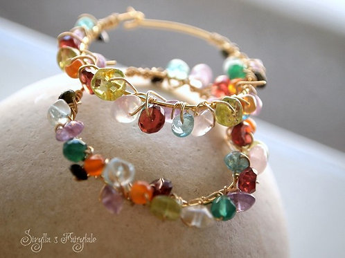 Multicolored Gem wrapped hoops - Farfalina