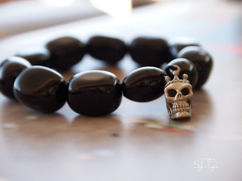 Black Onyx and Silver Skull - Jupiter