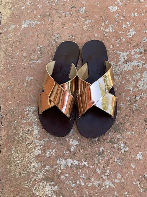 Handmade Metallic  Mirror Leather sandals - HELIOS GOLD
