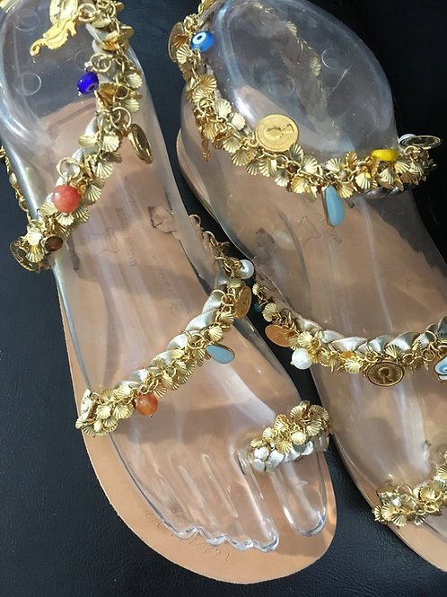"""Jeweled gold leather sandals with crystals, precious stones and charms """"NAFSIKA"""""""