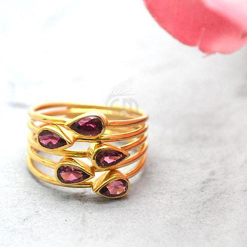 Rhodolite Stone 2.50ct Gold Vermeil Gemstone Wedding Ring