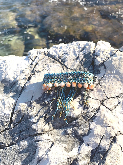 "Macrame Woven bracelet -""Blue Lagoon"""