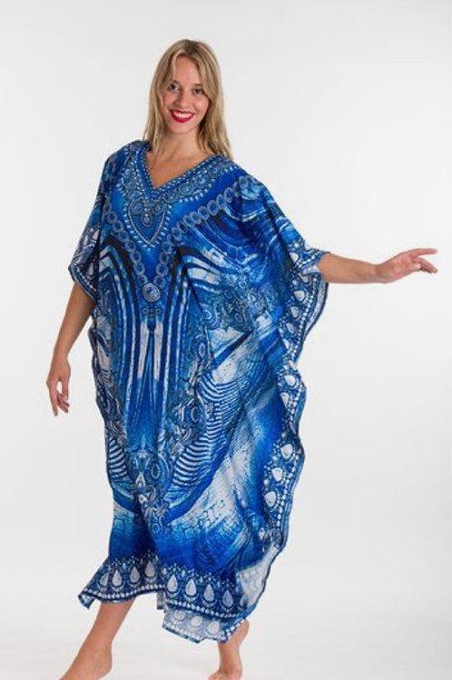 "Long Kaftan Dress- ""Blue Lagoon"""