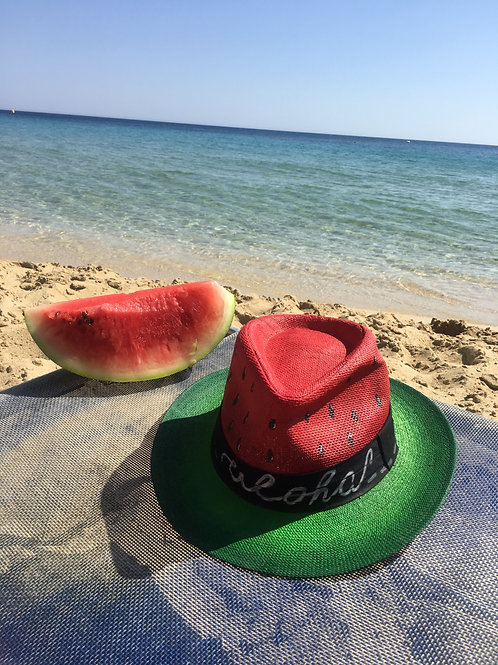 "Hand Painted Panama Hat - ""Watermelon"""