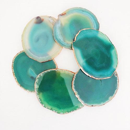 Green Brazilian Agate Coasters - Set of 4 - Gold edged