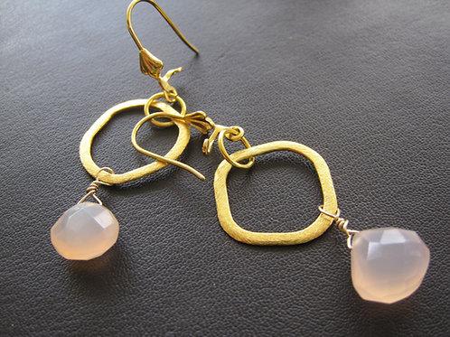 """Chalcedony earrings """"Baby pink"""""""