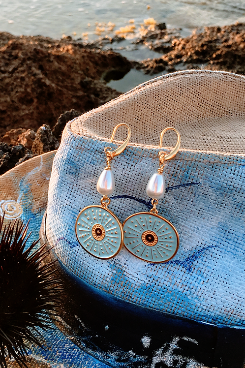 "Sea Urchin motif  Gold plated earrings ""Achinos"""