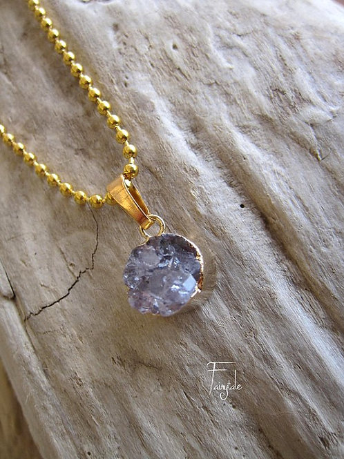 Drusy Amethyst Necklace - Aquarious Sign