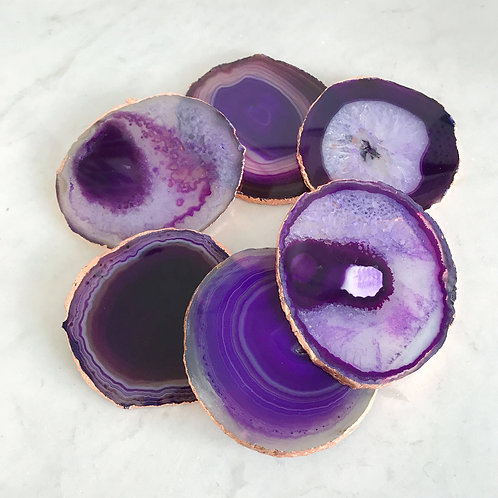 Purple Agate Coasters - Set of 4 - Gold trimmed