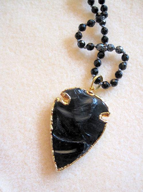 "Black Obsidian Arrowhead & Onyx - ""Volcano"""
