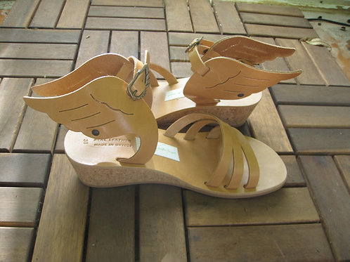 """Hermes"" Wedges - Greek leather sandals"