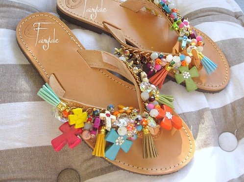 Leather Sandals with Howlite Crosses- HYPATIA