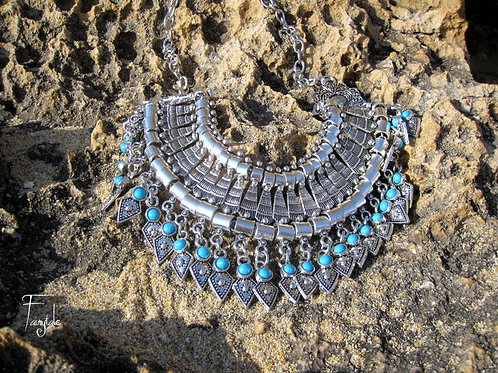 Boho hippie silver necklace - Delos