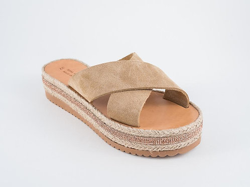 "Espadrilles-Wedges-Flatforms - Suede Leather sandals - ""ERATO"""