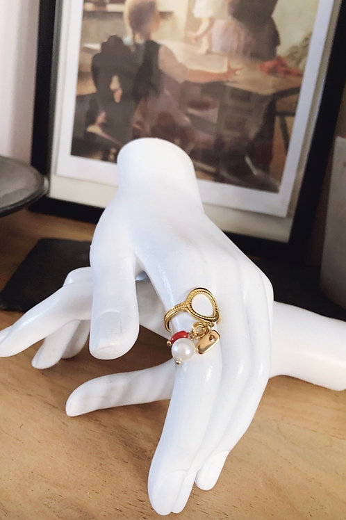"Pearl Ring Adjustable "" No 1 """