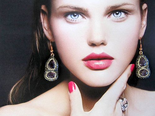 Amethyst Earrings with pave Zircon